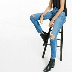 New mid-rise super skinny distressed jeans